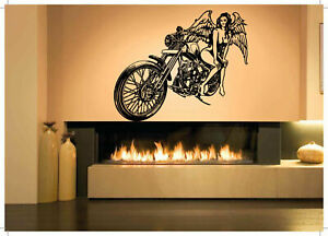 Wall Decal Room Sticker Chopper bike motorcycle sexy woman angel wings bo3241