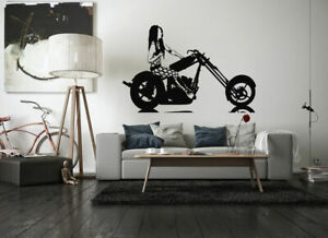 Wall Decal Room Sticker Chopper bike motorcycle sexy woman speed  bo3243