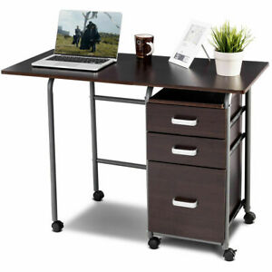 Folding Computer Laptop Desk Wheeled Home Office Furniture w3 Drawers Brown
