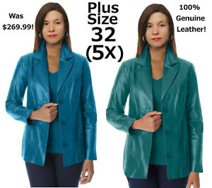 $269.99 Women's Tailored Leather Jacket Plus Size 32 Blazer Coat 5X Fully Lined!