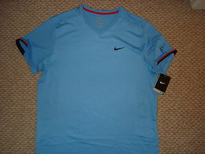 NWT Nike Federer RF 2012 Hard Court Tennis V-Neck Shirt 480129-412 Nadal L  XL