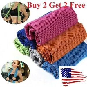 Buy 2 get 2 free ice Cooling Towel for Sports Workout Fitness Gym Yoga towels