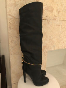 NEW SERGIO ROSSI OVER The KNEE BLACK LEATHER BOOTS  Size 838 ITALY