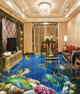 Playful Tropical 3D Floor Mural Photo Flooring Wallpaper Home Print Decoration