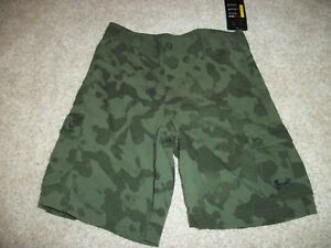 UNDER ARMOUR New NWT Youth Boys Loose Fit Shorts Cargo Camo Camouflage Green