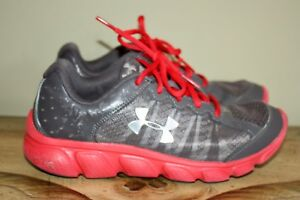 Boys Under Armour Assert 6 Gray Red Athletic Running Shoes Sz 5 EUC