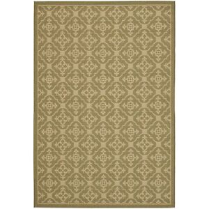 All weather Indoor Outdoor Green Creme Area Rug 5#x27; 3 x 7#x27; 7