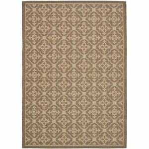 All weather Indoor Outdoor Brown Creme Area Rug 5#x27; 3 x 7#x27; 7