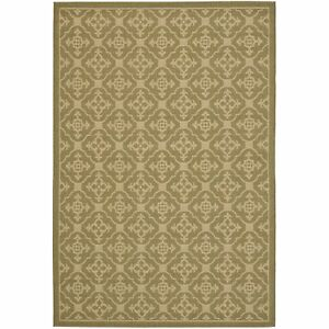 All weather Indoor Outdoor Green Creme Area Rug 4#x27; x 5#x27; 7