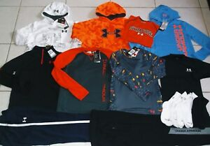 BOY'S SIZE LARGEXLARGE UNDER ARMOUR  15 PIECE ATHLETIC CLOTHING LOT NWT!