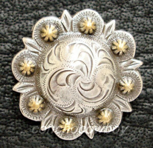 WESTERN HORSE TACK ANTIQUE ENGRAVED GOLD BERRY CONCHOS screw back Multi size