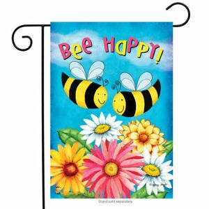 Bee Happy Bees Spring Garden Flag Floral Daisies 12.5