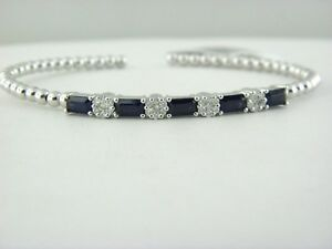 Diamond & Blue Sapphire Bead Cuff Bracelet in 18k White Gold
