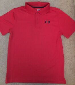NWT youth Boys UNDER ARMOUR HEAT GEAR GOLF LOOSE FIT Red POLO Shirt Size Medium