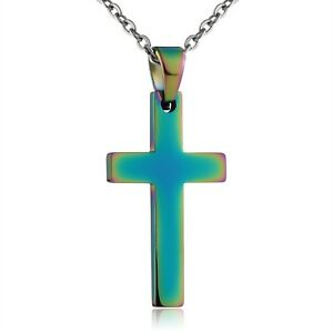 Cross Necklace Stianless Steel Pendant for Men Women Multicolor by Aienid