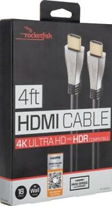Rocketfish- 4' 4K Ultra HD In-Wall HDMI Cable - Black