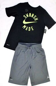 NWT~BOY'S NIKE T-SHIRT & JORDAN SHORTS YOUTH SIZE LARGE 14-16 DRY FIT COTTON TEE