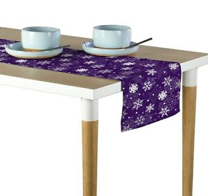 Winter Snowflakes Purple Table Runners 12quot; x 72quot; or 14quot; x 108quot;