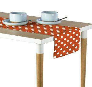 White Dot on Orange Table Runners 12quot;x72quot; or 14quot;x108quot;