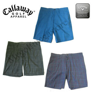 Callaway Golf Mens golf Shorts - Ventilated Plaid Shorts - CGBS7064