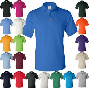 GILDAN Mens Polo Sport Shirt Jersey UNIFORM CASUAL POLO Shirt Colors Size S-5XL