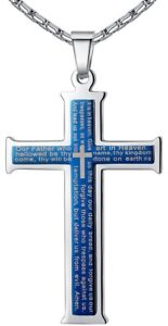 Men's Stainless Steel Lord's Prayer Cross Pendant Necklace Dark Blue Color 23