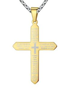Men's Stainless Steel Lord's Prayer Cross Pendant Necklace 23'' Link Chain ddp