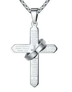 Men's Stainless Steel Lord's Prayer Cross Halo Pendant Necklace Silver-Tone 23