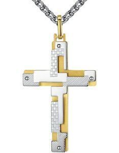 Men's Stainless Steel Large Resurrected Cross Pendant Necklace 24