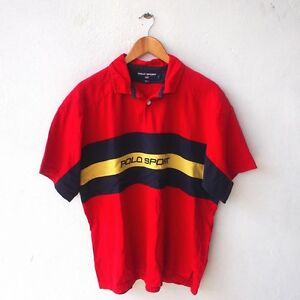POLO SPORT RALPH LAUREN VINTAGE BIG LOGO RED STADIUM P WING POLO RUGBY SHIRT L