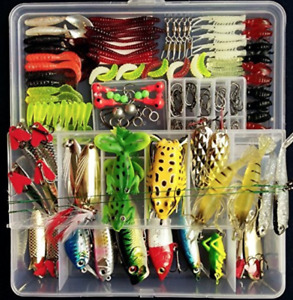 Fishing Tackle Set Baits Lures Kit Variety Lures 180ps For Trout Bass Salmon NEW
