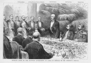 EGYPT Banquet at Cairo for Henry Stanley Antique Print 1890 GBP 9.95