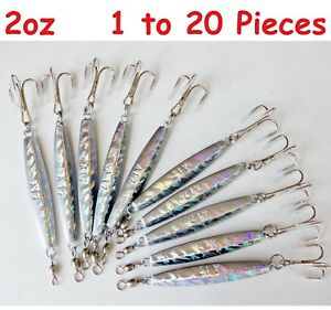 1 20 pcs Diamond Jig 2oz Holographic Saltwater Lures w Treble Hook Select qty