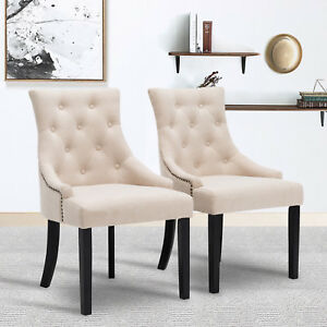 Elegant Set of 2 Beige Fabric Accent Dining Chairs Tufted Pattern Dining Room