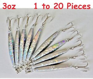 Diamond Jig 3oz Holographic Laser Saltwater Lures w Treble Hook Select qty