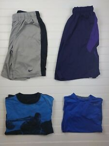 Lot of 4 Boys Kids Youth Nike Dri-Fit  Athletic Shirt Shorts Small S Black (P53)