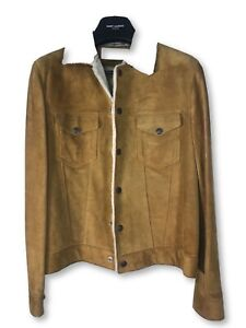Saint Laurent Paris FW14 Suede Shearling Trucker Jacket Size 50 $4890