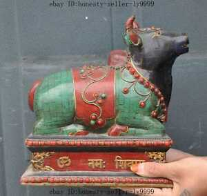 old tibet bronze Inlay Turquoise Red Coral Cattle Taurus Bull Ox Buffalo statue