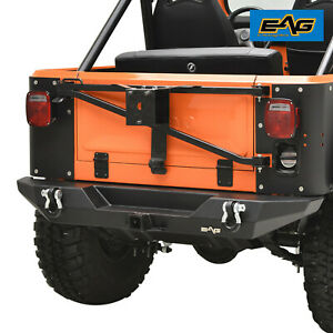 EAG Stubby Rear Bumper with Hitch Receiver Black Fit 76-86 Jeep Wrangler CJ