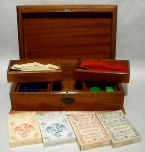 Vintage L'Hombre Gaming Box w 4 Card Decks & Galalith Counting Chips c.1900s