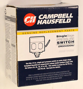 NEW Campbell Hausfeld GR004500AJ Single Stage Pressure Switch