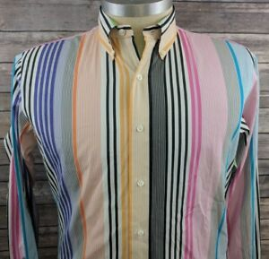 Ralph Lauren Custom Fit Mens Striped Color Block Casual Shirt Large Dry Cleaned