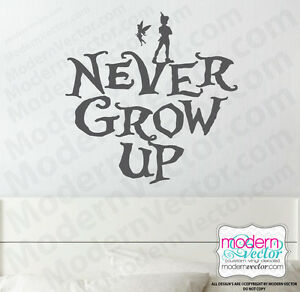Peter Pan Quote Vinyl Wall Decal Nursery Decor Disney Tinkerbell Never Grow Up