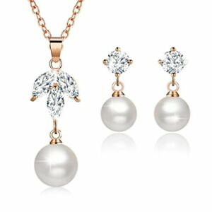 Woman Necklace Set With Earrings Pearl Crystal Fashion Jewelry For Wife Girl NEW