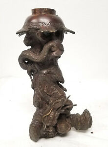 Antique Japanese Bronze Dragon Pearl Vase Stand Base Meiji Lamp Figural