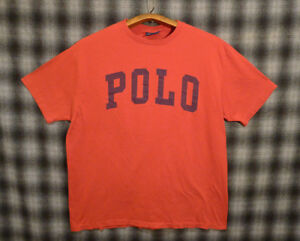 Vintage Polo Sport Ralph Lauren T-Shirt single stitch USA Made 90s Spell Out L