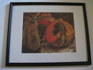 ORIGINAL SIGNED ACRYLIC AND PEN STILL LIFE PAINTING OF AN HEIRLOOM SQUASH