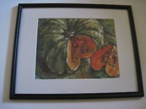 ORIGINAL SIGNED ACRYLIC STILL LIFE PAINTING OF AN HEIRLOOM SQUASH