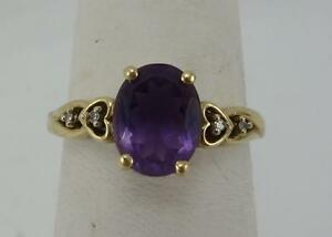 10K yellow gold ladies size 7 oval amethyst ring diamond chips EUC 2.2g