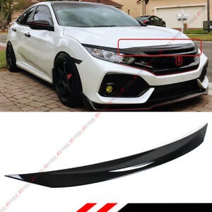 FOR 2016-2019 HONDA CIVIC Si GLOSS BLACK FRONT HOOD BUMPER UPPER TRIM NOSE COVER
